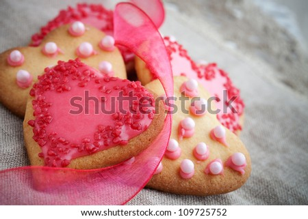Pink heart shape cookies for Valentine�´s Day celebration
