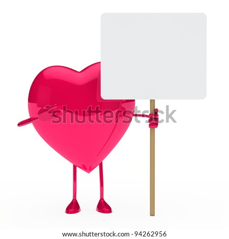 pink heart show and hold a billboard