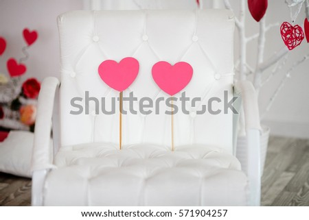 pink heart with pink heart in armchair for texture for valentine 's day. Love concept #571904257