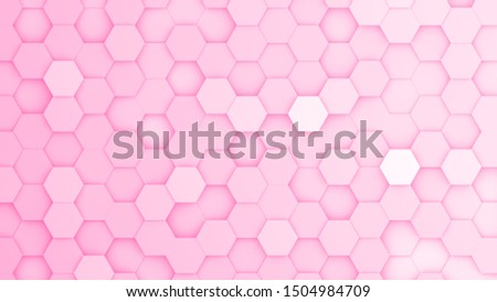 Pink hexagonal grid in a random pattern. 3D computer generated image.