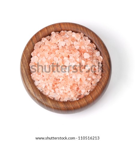 pink Himalayan salt in a bowl, isolated