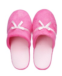 Pink Home soft slippers isolated on white background