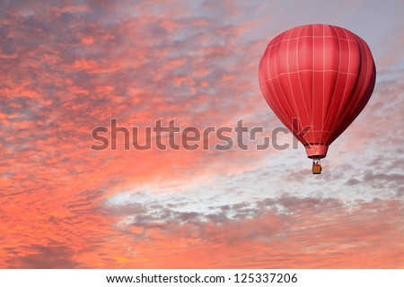 Pink Hot Air Balloon in a Pink Sunset Sky