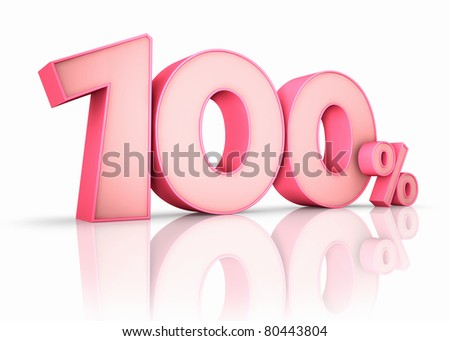 Pink hundred percent, isolated on white background. 100%