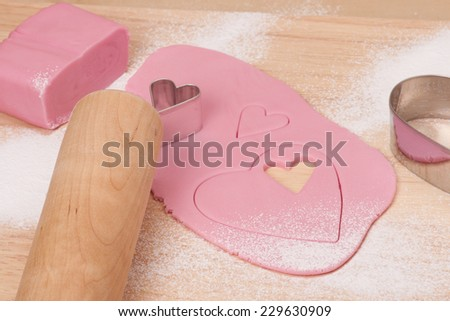 Pink Icing Sugar On Wooden Board. #229630909