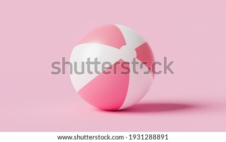 Pink inflatable ball beach toy on pink summer background with balloon concept. 3D rendering. Сток-фото ©
