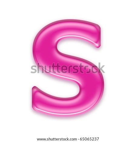 pink jelly letter isolated on white background - S - stock photo