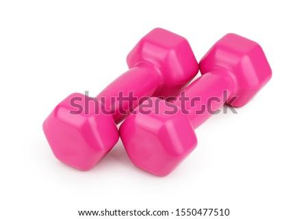 Pink 2 kg dumbbells isolated on white background