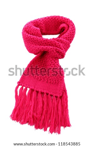 Pink knitted scarf isolated on white