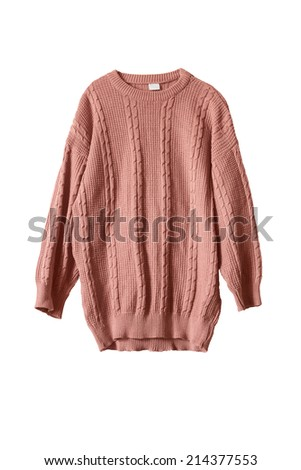 Pink knitted wide sweater isolated over white #214377553