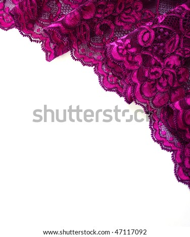 Pink lace border isolated on white