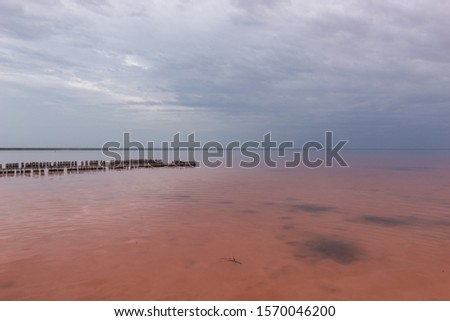 Pink Lake Elton with clouds, in cloudy weather but without wind and smooth smooth water and a wooden platform on the right