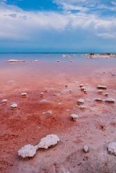 Pink lake. Salt lake in the Crimea.