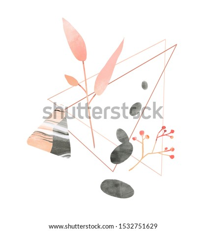 Pink leaf branch, triangle figure and pebble stones. Hand drawn illustration for wellness, spa and beauty salons, mindfulness practice. Balance and harmony concept