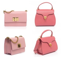 pink leather purse collection isolated on white background