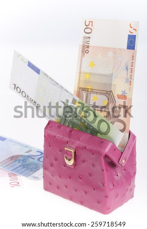 Pink leather wallet with Euro notes #259718549