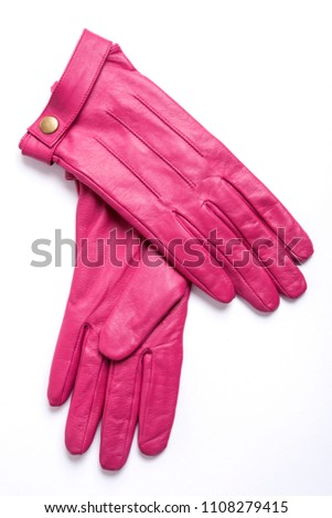 pink leather woman gloves isolated Stock photo ©