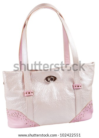 pink leather woman's bag isolated on white