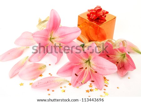 Pink lilies and gifts