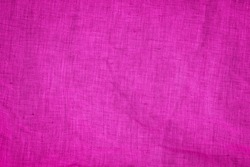 Pink linen Canvas fabric background. Magnetic Magenta colored Cloth background. Fuchsia color fabric. Pink pure linen texture