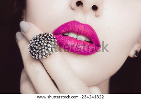 Pink Lips with Diamond Jewelry. Fashion Make-up, Style, Ring and Cosmetics #234241822