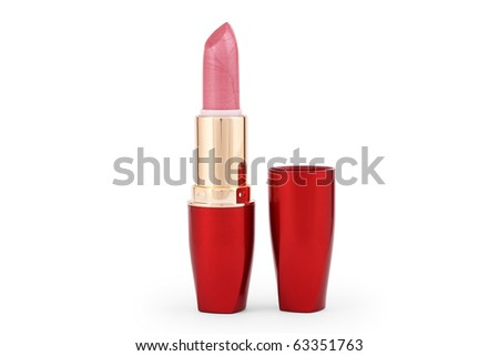 Pink lipstick and red packing on a white background.