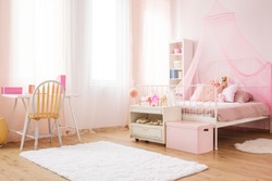 Pink little princess room with canopy bed, desk and chair
