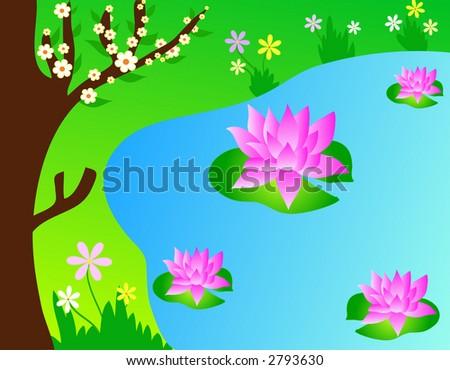 Pink Lotus Drawing Pink Lotus Flowers in a Pond