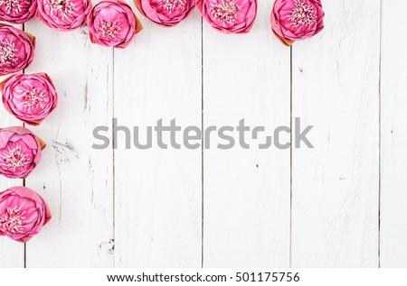 Pink Lotus on Vintage Background, Flat Lay Style #501175756