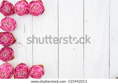 Pink Lotus on Vintage Background, Flat Lay Style #525942013