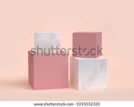 pink marble cube-box podium 3d rendering cream background