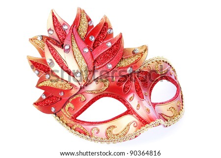 Pink mask isolated on white background.