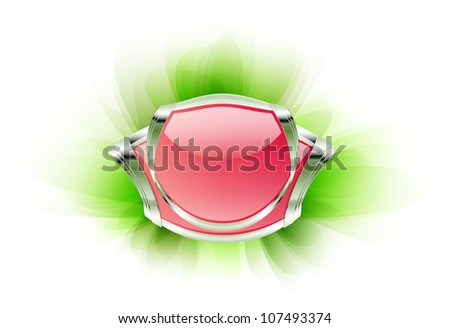 Pink metallic badge with crystal on soft green background. Raster version