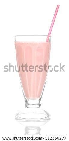 Pink milk shake isolated on white