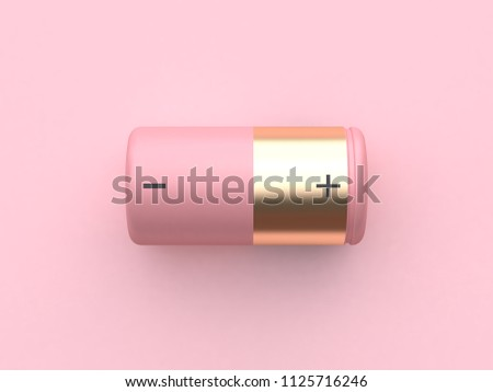 pink minimal abstract technology equipment gold pink battery 3d rendering