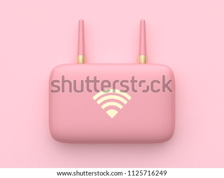 pink minimal abstract technology equipment wifi router 3d rendering