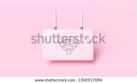 Pink Minimal Modern Wifi Router (Modem) Isolated On The Pink Background - 3D Illustration