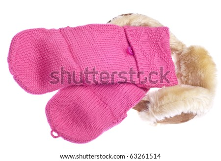 Pink Mittens with Fuzzy Winter Ear-Muffs Isolated on White with a Clipping Path.