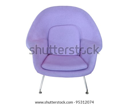 pink modern chair isolated on white background