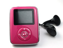 pink mp3 player isolated on white