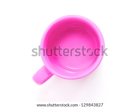 Pink mug isolated on white background, the top view