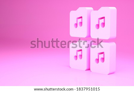 Pink Music file document icon isolated on pink background. Waveform audio file format for digital audio riff files. Minimalism concept. 3d illustration 3D render. Stock foto ©