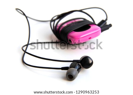 pink music mp3 player with headphones