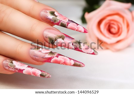Pink nail design.