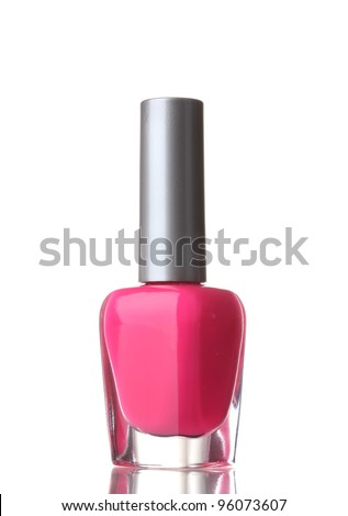 Pink nail polish on white background