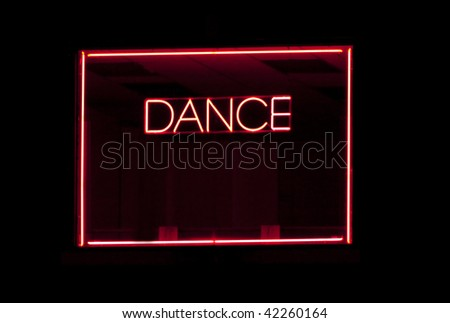 Pink Neon Dance Sign With Pink Neon Border