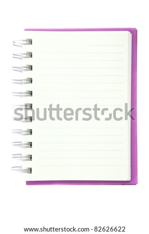 pink notebook isolated in white background
