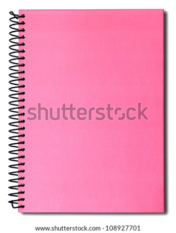 Pink notebook isolated on white background