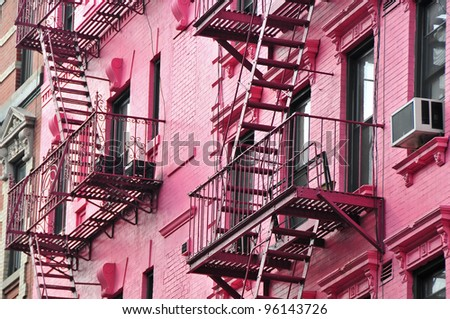 Pink NYC Apartment Building in the Village