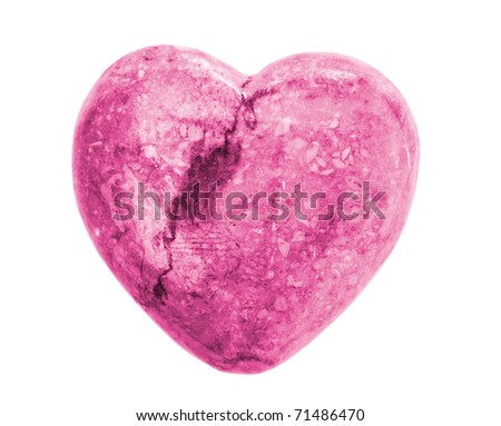 Pink Onyx Heart isolated on white background